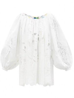 RIANNA + NINA Kendima white embroidered-lace cotton-poplin top ~ womens voluminous long sleeve billowy tops ~ balloon sleeves - flipped