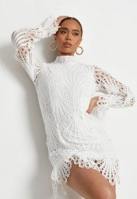 MISSGUIDED white lace high neck ruffle mini dress ~ womens semi sheer going out dresses