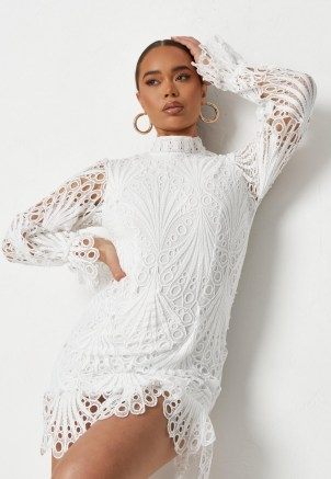 MISSGUIDED white lace high neck ruffle mini dress ~ womens semi sheer going out dresses - flipped