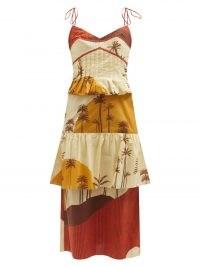 JOHANNA ORTIZ Mountain Woman scenic-print organic-cotton dress ~ spaghetti strap scene print peplum dresses