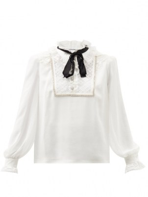 SELF-PORTRAIT Pussy-bow broderie anglaise-trimmed chiffon blouse in white ~ ruffled high collar blouses ~ romantic ruffle neck tops - flipped