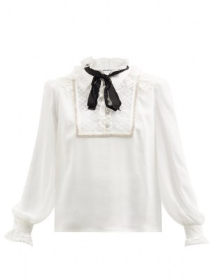 SELF-PORTRAIT Pussy-bow broderie anglaise-trimmed chiffon blouse in white ~ ruffled high collar blouses ~ romantic ruffle neck tops