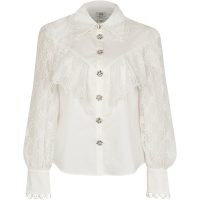 RIVER ISLAND White RI monogram frill detail shirt ~ blouses with semi sheer sleeves ~ ruffled lace style top
