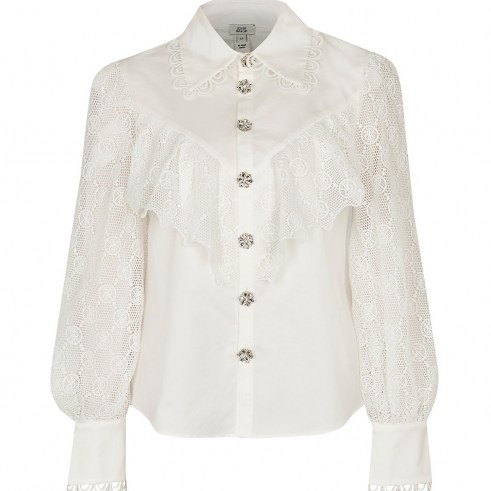RIVER ISLAND White RI monogram frill detail shirt ~ blouses with semi sheer sleeves ~ ruffled lace style top - flipped