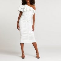 RIVER ISLAND White ruched asymmetrical midi dress ~ one shoulder ruffled neckline dresses ~ ruffle neck going out dresses ~ womens party fashion