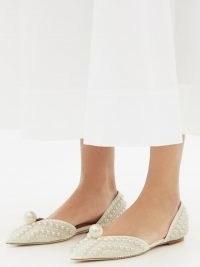 JIMMY CHOO Sabine white faux-pearl embellished d'Orsay flats / women's designer flat shoes / womens luxe footwear