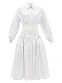 ALEXANDER MCQUEEN Shirred-waist white cotton-poplin shirt dress