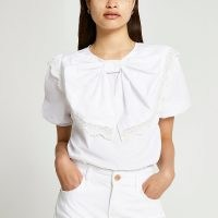 RIVER ISLAND White short sleeve bow puff sleeve top ~ lace trim puff sleeved tops ~ statement bows on womens fashion