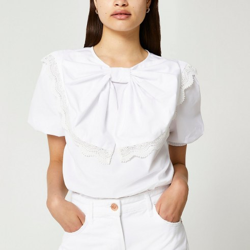 RIVER ISLAND White short sleeve bow puff sleeve top ~ lace trim puff sleeved tops ~ statement bows on womens fashion - flipped