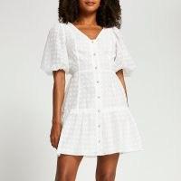RIVER ISLAND White spot puff sleeve button mini dress / womens tiered dresses