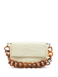 STAUD Tommy mini croc-effect leather shoulder bag / small crocodile embossed flap front bags