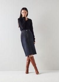 L.K. BENNETT WILLOW BLUE ORGANIC COTTON DENIM SKIRT ~ classic pencil skirts ~ womens essential fashion ~ wardrobe staple