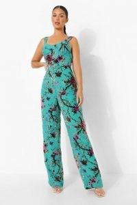 boohoo Devore Corset Detail Wide Leg Jumpsuit / blue floral burnout jumpsuits