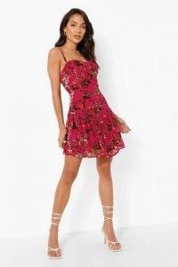 boohoo Devore Corset V Detail Skater Dress / pink cami strap floral dresses