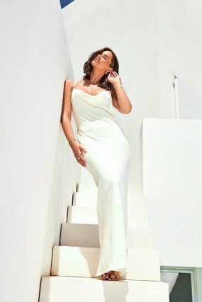 Emily Shak Linen Look Maxi Slip Dress | cami strap dresses | celebrity clothing worn on Instagram | celebrities social media style strappy fashion | boohoo