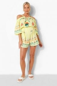 boohoo Maternity Embroidered Tie Flippy Playsuit / on trend pregnancy fashion / floral off the shoulder playsuits