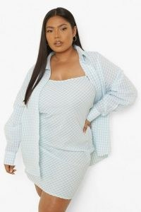 boohoo Plus Gingham Mini Dress And Shirt Co-ord / womens on trend plus size fashion co ords