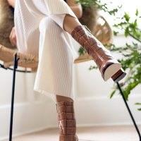 DEAR FRANCES SPIRIT BOOT BROWN CROC ~ womens stylish crocodile look leather boots