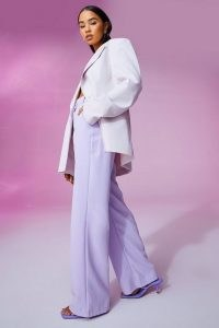 Amelia Hamlin lilac wide leg trousers, boohoo Tailored Boyfriend Trouser, on Instagram, 2 July 2021 | celebrity social media fashion | celebrities and their style USA