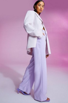 Amelia Hamlin lilac wide leg trousers, boohoo Tailored Boyfriend Trouser, on Instagram, 2 July 2021 | celebrity social media fashion | celebrities and their style USA - flipped