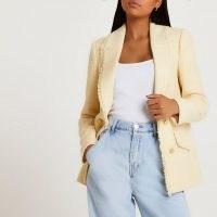 RIVER ISLAND Yellow boucle blazer ~ womens frayed edge tweed style blazers ~ women's textured jackets