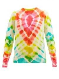 THE ELDER STATESMAN Burst tie-dye cashmere sweater / womens bright multicoloured round neck sweaters / women's designer jumpers / knitwear