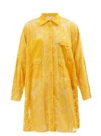 FENDI FF Fisheye-embroidered yellow lace shirt dress / womens designer logo poolside cover up / bright beach bar dresses / women's sheer beach fashion / beachwear