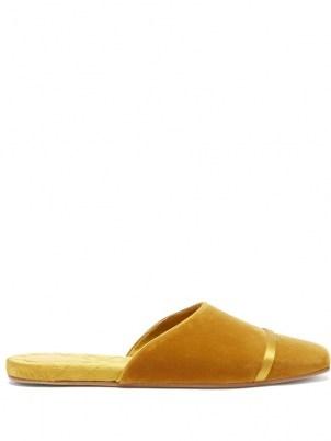 MALONE SOULIERS Rene backless yellow velvet flats / square toe flat heel mules - flipped