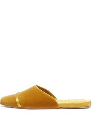 MALONE SOULIERS Rene backless yellow velvet flats / square toe flat heel mules