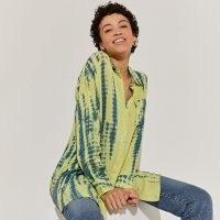 RIVER ISLAND Yellow tie dye long sleeve shirt / womens longline dip hem shirts / women's casual on trend fashion