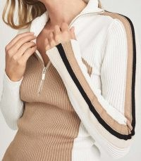 REISS ZANA COLOUR BLOCK ZIP NECK POLO SHIRT CREAM/CAMEL ~ women's chic rib knit jumpers ~ womens neutral ribbed pullovers