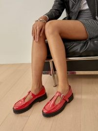 Reformation Abalonia Chunky Maryjane in Poinsettia – gorgeous red thick flatform sole Mary Jane shoes