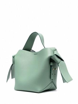 Acne Studios mini Musubi bag in sage green | boxy shape handbags - flipped