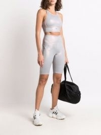 adidas by Stella McCartney shiny training crop top – sports luxe tops