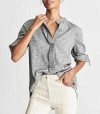 REISS ALBER CASUAL LONGLINE SHIRT GREY ~ womens chic contemporary shirts