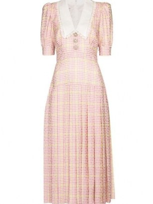 Alessandra Rich houndstooth pleated midi dress – pink checked puff sleeve oversized collar dresses – large vintage style collars - flipped