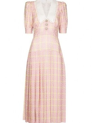 Alessandra Rich houndstooth pleated midi dress – pink checked puff sleeve oversized collar dresses – large vintage style collars