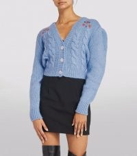 ALESSANDRA RICH Embroidered Cropped Cardigan Light Blue / crop hem cable knit floral cardigans / womens designer knitwear
