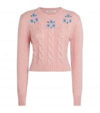 ALESSANDRA RICH Pink Alpaca-Blend Embroidered Sweater / cute cable knit floral sweaters / womens feminine jumpers