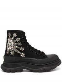 Alexander McQueen crystal lace-up platform sneakers in black