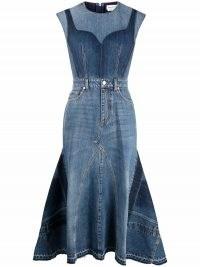 Alexander McQueen pieced and reconstructed midi dress | sleeveless designer denim dresses | women's contemporary fashion