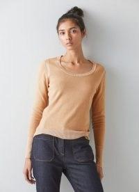 L.K. BENNETT ALIDA CAMEL COTTON-MERINO WOOL JUMPER ~ womens luxe light brown jumpers