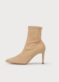 L.K. BENNETT ALLIE BEIGE STRETCH SUEDE ANKLE BOOTS ~ luxe point toe stiletto heel boot