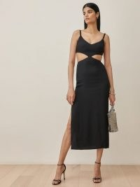 Reformation Alsie Dress in Black – side cut out LBD – cutout detail dresses with high slit