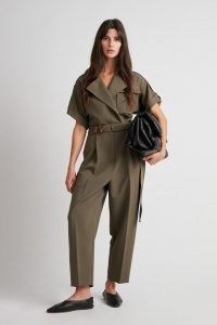 CAMILLA AND MARC Amaia Jumpsuit in Khaki ~ contemporary green belted utility jumpsuits ~ womens modern utilitarian fashion