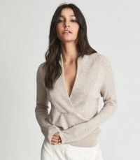 REISS AMELIA SHAWL COLLAR CASHMERE JUMPER OATMEAL ~ womens luxe jumpers ~ women's chic knitwear ~ contemporary jumpers