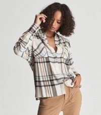 REISS AMIRA CHECKED TWIN POCKET SHIRT CREAM / womens check print relaxed fit grandad collar shirts