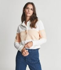 REISS ANJA COLOUR BLOCK RUGBY TOP PINK / womens casual long sleeve point collar tops