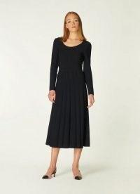 L.K. BENNTT MARIA BLACK VISCOSE MIX DRESS ~ long sleeve fit and flare pleated midi dresses ~ LBD ~ wardrobe essentials