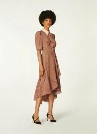 L.K. BENNETT BARABELLA TOBACCO HANDKERCHIEF PRINT SILK DRESS ~ brown vintage style asymmetric hem dresses